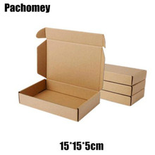 10pcs/lot 15*15*5cm Brown Packaging Kraft Paper Box For Jewelry Wedding Candy Chocolate  Handmade Gift Package Mailing Box PP765