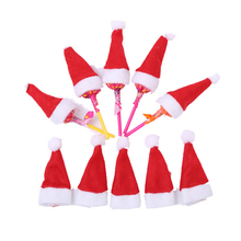 10 pcs/lot mini santa claus hat lolipop holder cover christmas decoration for home table dinner decor Xmas ornament