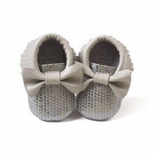 2016 new fashion Gray sequins baby bow moccasins Bling Bling pu leather glitter baby girls dress shoes toddler soft sole moccs(China)