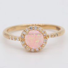 JINYAO Jewelry Beautiful Cute Simple Round Fire Opal Gold Color Ring For Women 5colors(pink/yellow/orange/bule/colorful)(China)