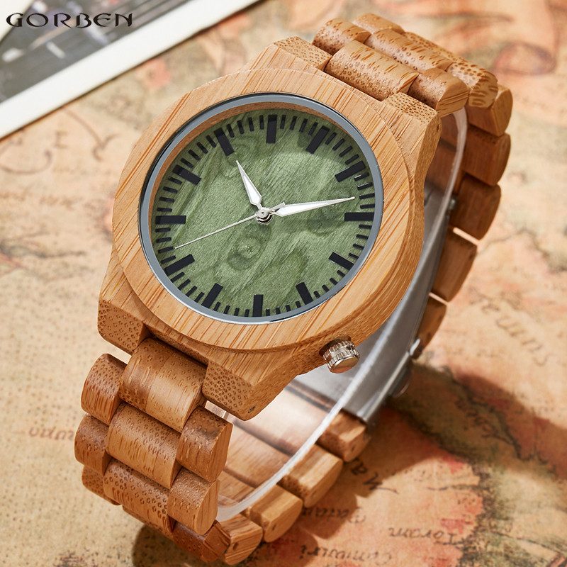 Full Bamboo Wooden Watches Simple Green Wood Dial Quartz Watches Fashion Wood Strap Men Wristwatches Best Gifts With Box<br>
