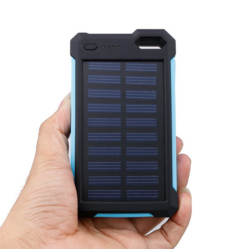 Universal DC 5V 2A 8000mAh Dual USB Solar Panel Battery Power Bank Waterproof Shockproof Mobile External Charger For Smart Phone(China (Mainland))