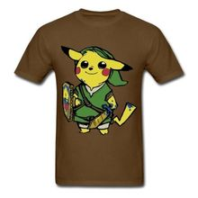 New Arrival Pikachu Link Men's T Shirt Pokemon Zelda PikaLink Graphic Printed Cotton Tee Shirt High Quality O-neck Top Plus Size