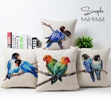 Contemporary and contracted watercolor birds cotton pillowcase car sofa cushion for leaning on of 43 * 43 No Inner