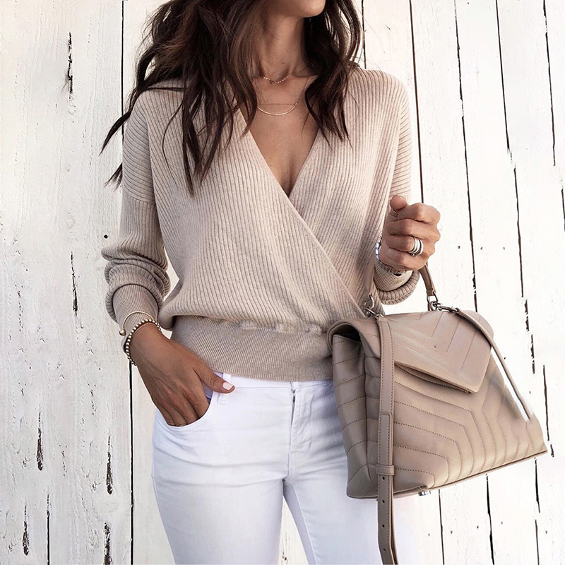 2019 Spring Women Fashion Elegant Casual Regular Woekwear Casual Top Female Solid V-Neck Long Sleeve Wrap Sweater
