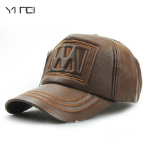 YIFEI 2017 New Winter High-quality PU Leather Caps Men Baseball Cap With Ears Motorcycle Cap Golf Hat Waterproof Warm Caps