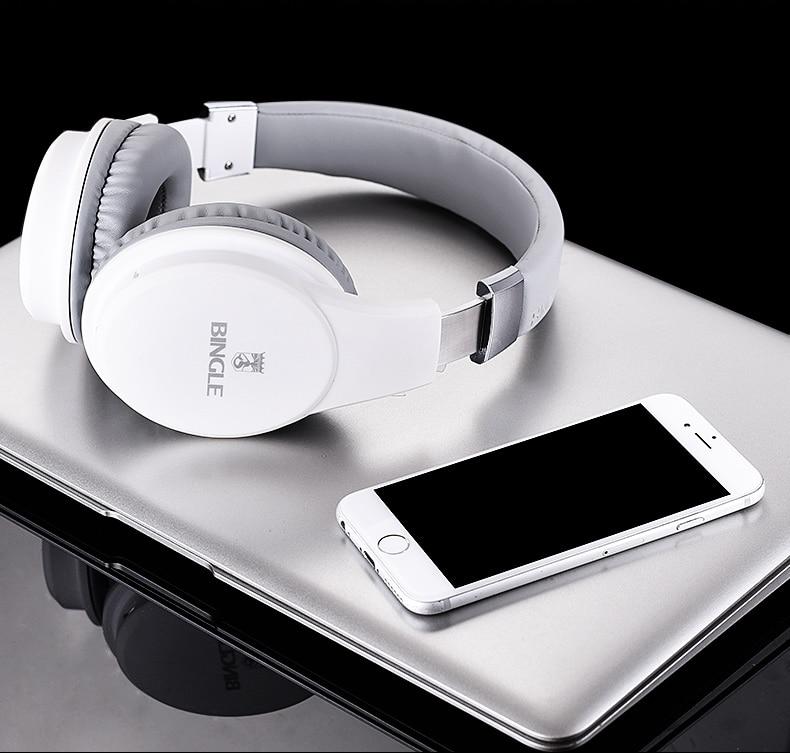 New Bingle Headphones Bluetooth 4.0 Wireless Earphone for Phone 3.5mm AUX HIFI Bass Stereo Headband Headset Music Earphone Black
