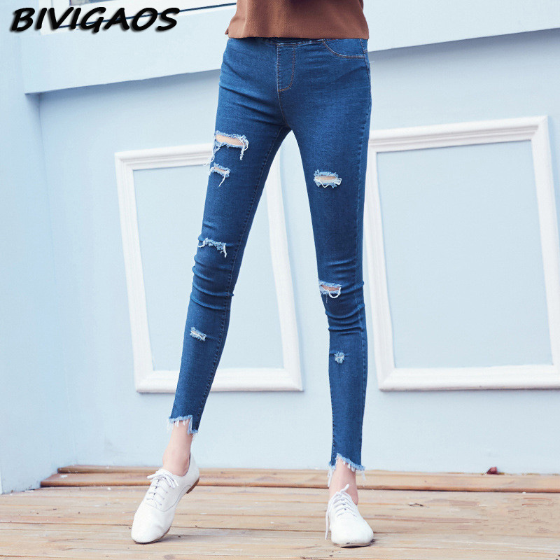 2016 summer 7 holes ripped unedged skinny jeans for women slim jean ankle leggings jeggings spendex denim pencil pants mallasОдежда и ак�е��уары<br><br><br>Aliexpress
