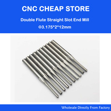 3.175*2*12MM 2 Two Straight Flute End Mill Slot Tools, Woodworking Router Bits, on Engraving Cutting MDF, Acryl, ABS(China)