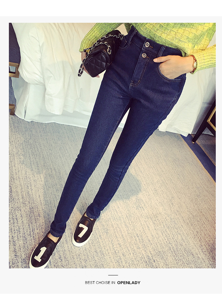 Plus Size Velvet Thickening Warm Women Jeans Students Style Winter Fashion Slim Stretch Elastic Skinny Pencil Pants Trousers Одежда и ак�е��уары<br><br><br>Aliexpress