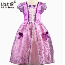 2017 New Summer Kids Elsa Cinderella Dresses For Girls Vintage Baby Dress Snow Queen White Anna Party Princess Clothes Nightgown