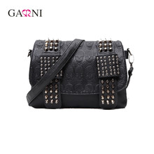 Garni 2017 Luxury Handbags Women Bags Designer Women's Bag Rivet Chain Messenger Shoulder Bags Female Skull Clutch Famous Brand
