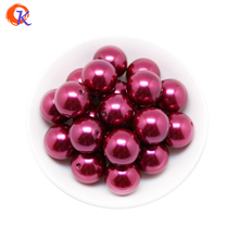 A43 Cordial Design 100pcs/lot Fashion Jewelry 20mm Acrylic Wine Red Pearl Chunky Beads For Handmade Necklace CDWB-515017(China)