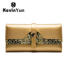 KEVIN YUN Fashion Classic Women Wallets Long Patent Leather Purse Serpentine Female Clutch Wallet Long Womens Card Holder