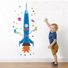 Vinyl Decal Decor Sticker Children Height Space Rocket Wall Art Boys Kids Nursery Chart Home Design Your Life 90X60cm