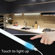 5W Touch Switch Wardrobe Closet Showcase Bookshelf White USB Night Light LED Touch Sensor Kitchen Cabinet Light Lamp DC 5V(China)
