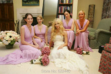 Sexy V-neck Long Bridesmaid Dresses Lilac Group Bridesmaid Gown Maid Of Honor Dress Wedding Party Dress