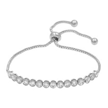 Shinning & Adjustable Round Cubic Zirconia CZ Crystal Tennis Bracelets for Women or Wedding