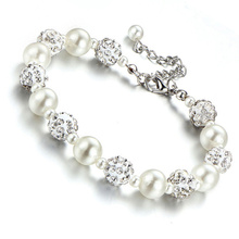Buy Fashion Crystal Beads Charm Bracelets & Bangles Woman Silver Color Simulated Pearl Bangle Wedding Jewelry Accessories Gift ) for $1.29 in AliExpress store