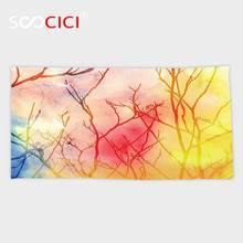 Custom Microfiber Ultra Soft Bath/hand Towel,Tree of Life Decor Collection Miraculous Tree Branches in A Colorful Fog Blurry Air(China)