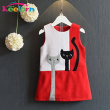 Keelorn Girls Dress 2017 Fashion Style Cartoon Cats Dress Sleeveless Wool Outwears O-neck Embroidery Children Clothing 3-7Y