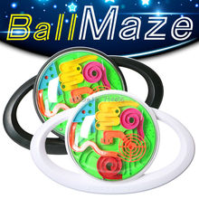 steering wheel model 3D magic maze ball puzzle game toy black&white intellect toy,pass a barrier challenge toy for whole family(China)
