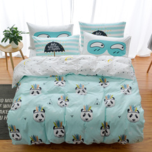 100% Cotton Owl Panda Fox Cat Bedding Set Cartoon Modern Flower Queen Size Stripe Bed Duvet Cover Bed Sheet Bed Linen Pillow(China)