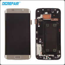 Gold White Blue For Samsung Galaxy S6 edge G925I G925F LCD display touch screen digitizer with Bezel frame Assembly repair parts