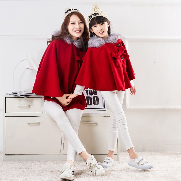 2017 spring autumn cloak mother and daughter coat red Woolen bow Christmas Outfits family matching clothes baby girl clothing<br><br>Aliexpress