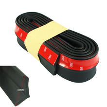 New Rubber Soft Black bumper Strip Car 65mm Width 2.5m length Exterior Front Bumper Lip Kit / Car bumper Strip
