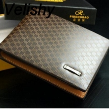 Velishy New Stylish Fashion PU Leather Plaid Wallet Male Bag Men Wallets Handbag Purse 11x9x2 cm