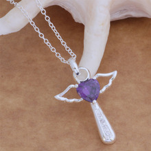 AN057 Fashion silver Cross Pendant Necklace with zircon classic beautiful birthday present top quality hot
