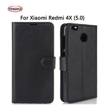 YINGHUI Luxury PU Leather Smart Flip Cover For Xiaomi Redmi 4X Case Stand Wallet For Xaomi Redmi 4X  4 X Protective Phone Fundas