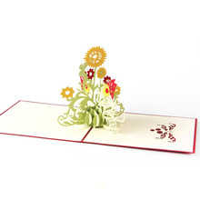 2017 Pop Up Greeting Cards Sunflower Wedding Birthday Mother Day Thank You 3D Cards MAR23_30