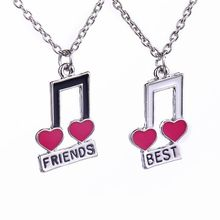 Best Friends Necklaces For 2 Music Notes Bestfriend BFF Necklace Red Cute Friendship Keepsake Gift For Girls Children Jewelry(China)