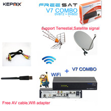 Freesat V7 Combo DVB S2 + DVB T2 Satellite Receiver with PowerVu Biss Key Cccam Newcam Youtube USB Wifi Set Top Box v7 combo(China)