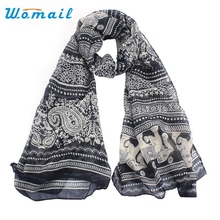 Womail Newly Design Boho Elephant Printed Women Long Scarf Wrap Shawls Drop Shipping