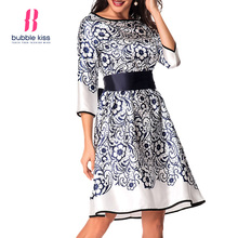 Vintage Summer Floral Dress Women Pattern Elegant Dress Party Flowers Floral Tie Belt Formal Skater Dress Vestidos robe femme