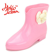 Women Flower Fashion Rain Boots Lady Low Heel Round Toe Solid Slip On Waterproof Welly Buckle Rainboots 2016 New Fashion Design(China)
