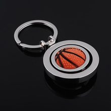 Keychains - GFS-Hot Sale Creative Fine Fashion Advertising Gifts Rubber Metal Rotating Basketball Key Ring #1820101