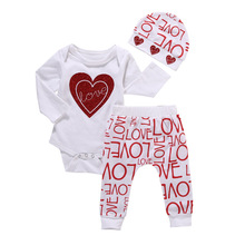 Newborn Toddler Infant Baby Girl Love Heart Romper Pants Hat 3pcs Outfits Set Casual Clothes Set