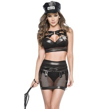 Buy Sexy Mesh Faux Leather Cop Costume Erotic Cosplay Latex Lingerie Women Police Nightclub PU Leather Tops Fetish Bondage Skirt