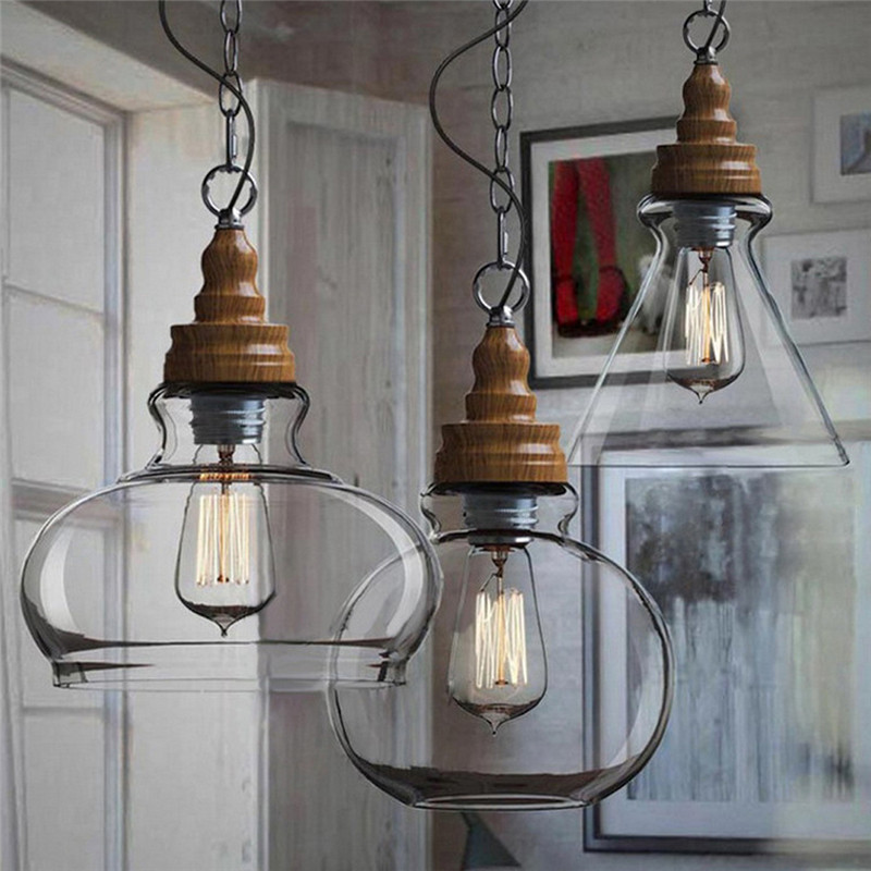 Vintage Lamp Shades Industry Metal Pendant Lamps Chandelier Simple and Creative Glass Hanging Light Shade Edison Bulb Covers<br><br>Aliexpress