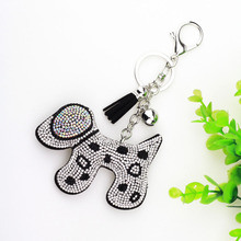 8 Colors Cute Spotted Dog Key Chain Full Crystal Rhinestone Keychain Leather Fringed Pendent for Bag Charms Jewelry Accessories