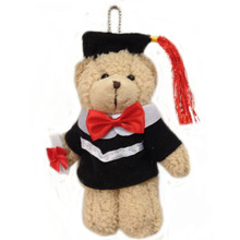 20 pcs/lot, light brown, jointed graduation bear, 15cm Plush graduation joint bear with graduation gown pendent, stuffed bear