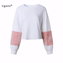 TQNFS Patchwork Long Sleeve Cotton Sweatshirt Women O Neck White Casual Pullovers Puff Sleeve Hoodies Oversize Sweatshirt(China)