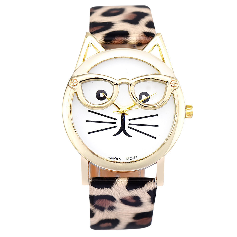 Relogio Feminino Cute Glasses Cat Pattern Analog Quartz Dial Wrist Ladies Watches Women Gift Fashion Brand Watch Montre Femme <br><br>Aliexpress