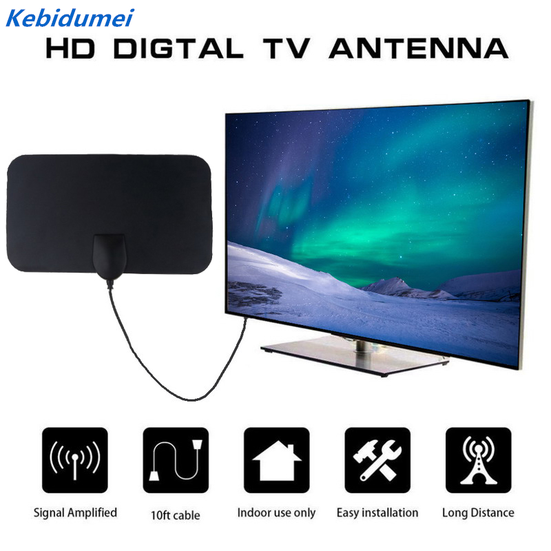 Digital TV Antenna 300 Mile Range 1080P Indoor Signal Amplified HDTV 13FT 4KTV