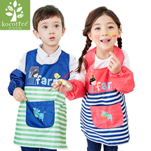 0-11 Years Kids Children Waterproof painted outerwear Cartoon Cooking Apron Long Sleeve Drawing Painting Apron for kindergarten(China)
