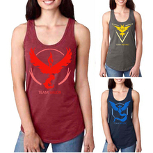 pokemon go print Tank Tops vest long women anime cosplay cartoon Game Fans gifs Pokemon cotton camp Logo team Casual t shirt(China)